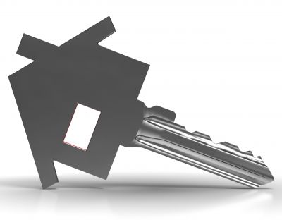 Key With House Shows Home Security Or Protection